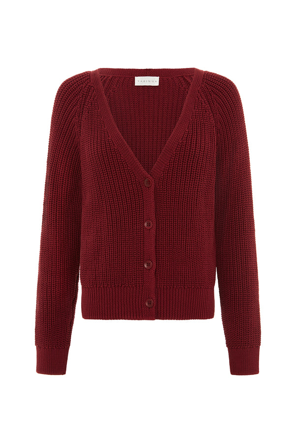 Margot Cardigan - Wine Red