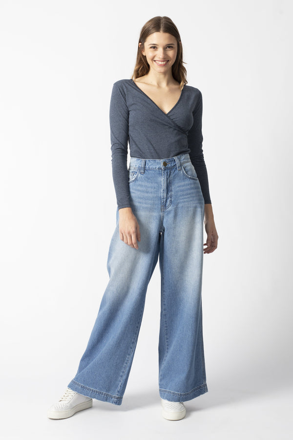 SKATER - High Waist Wide Leg Organic Jeans - Light