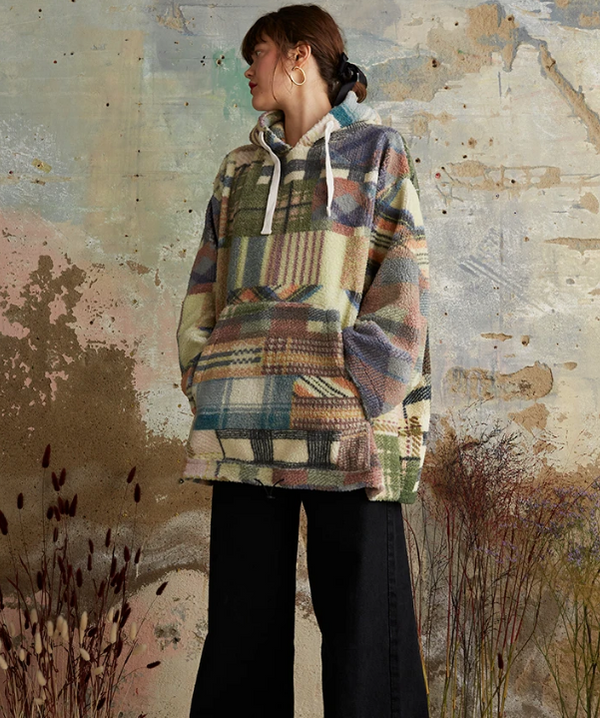Oversize Borg Check Hoodie