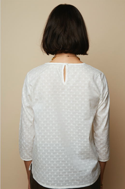 Embroidery Dotted White Organic Voile Blouse