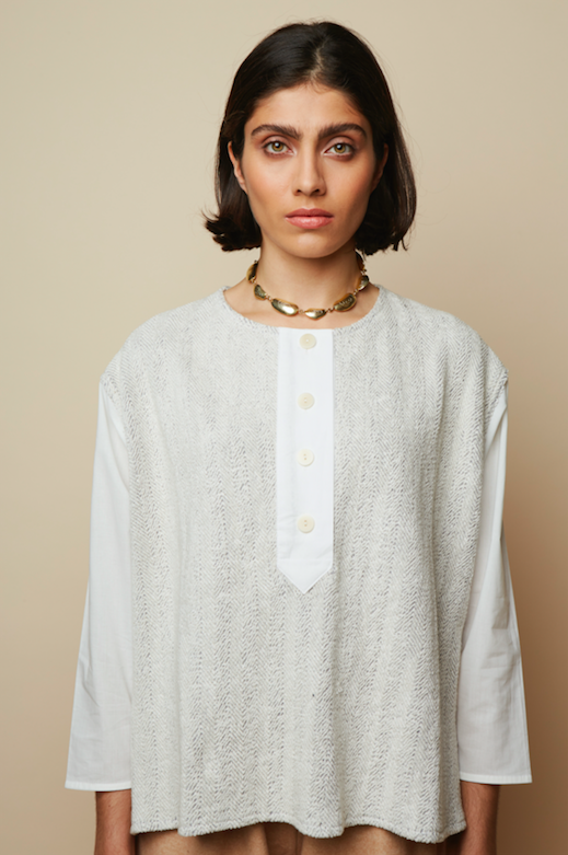Terry Herringbone Meadow Organic Sweat Blouse