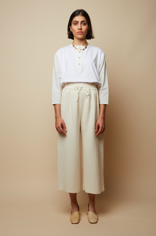 White Jersey & Voile Meadow Organic Sweat Blouse