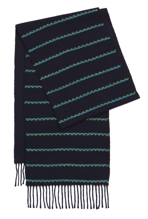 Triangle Striped Cashmere Mix Scarf