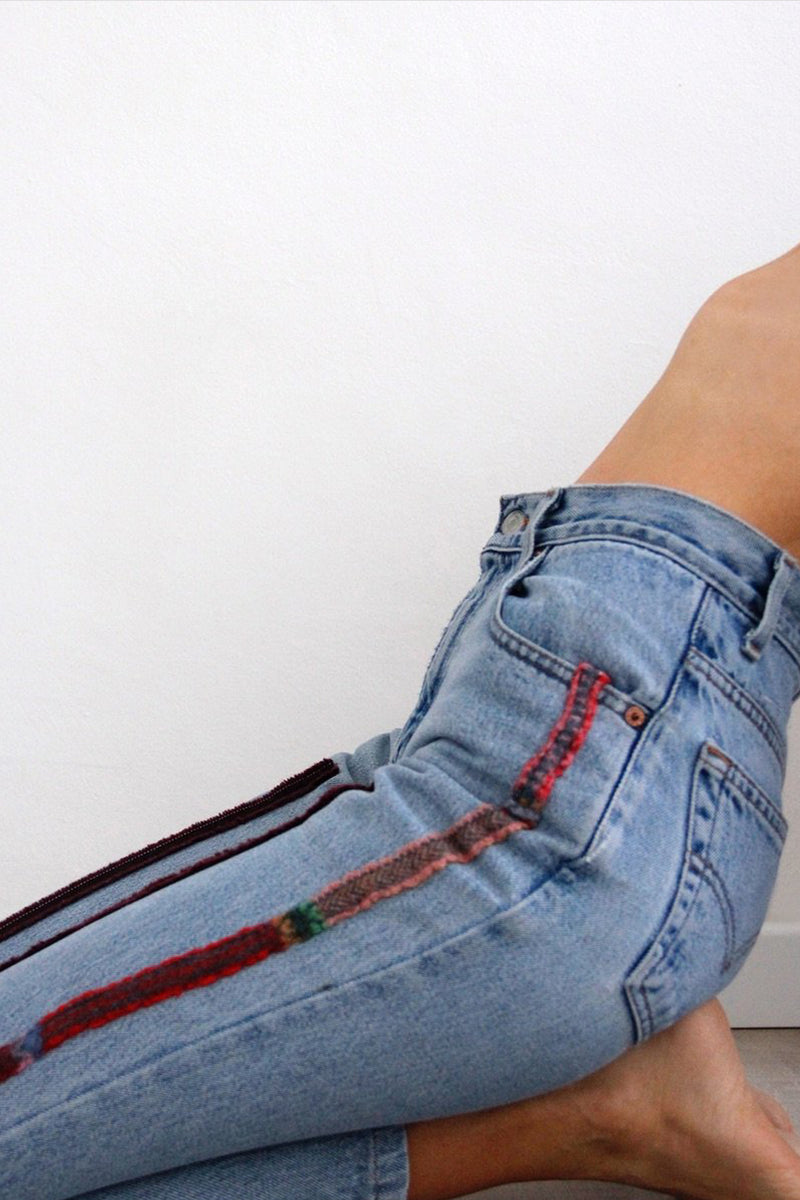 High Waisted Recycled Stripe Wool Jeans, Blue Denim