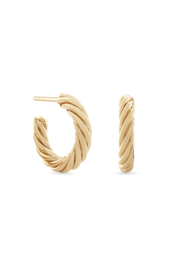 Twisted Sister Hoop Earrings. Gold Vermeil