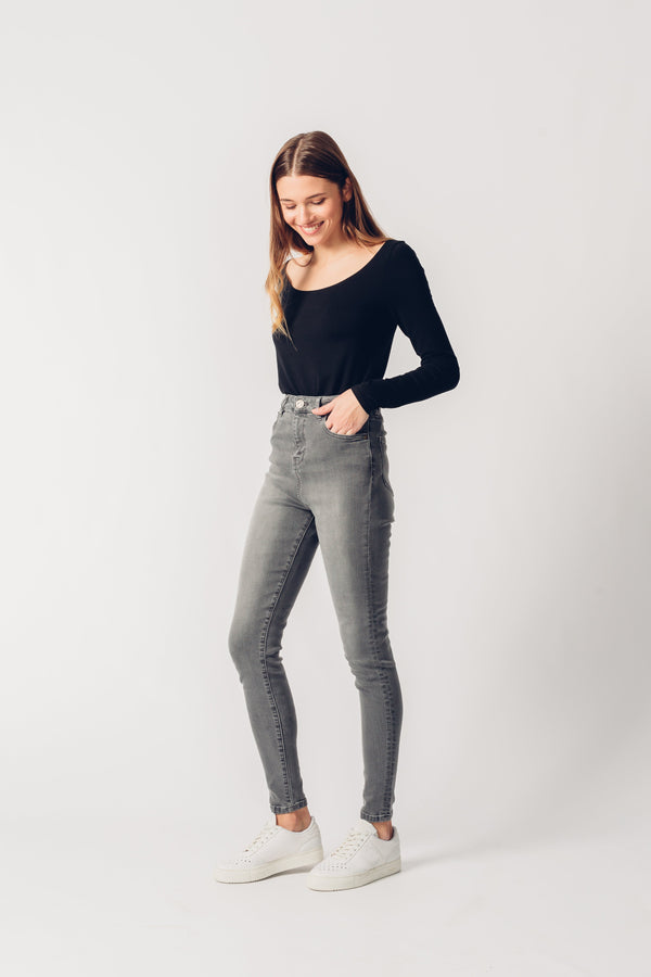 CARRIE - High Waist Super Skinny Organic Jeans - Light Grey