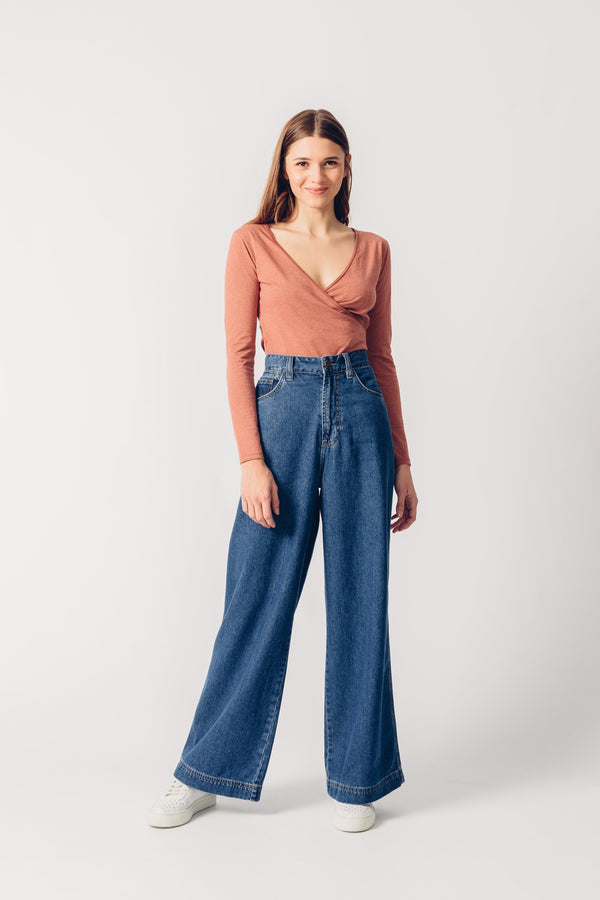 SKATER - High Waist Wide Leg Organic Jeans - Dark