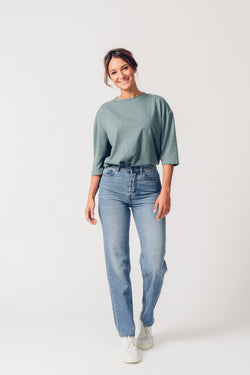 MAYA - High Waist Straight Leg Organic Jeans - Light