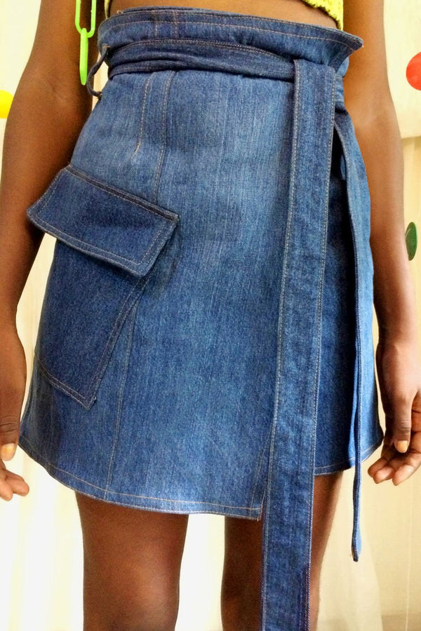 Cargo Denim Wrap Skirt