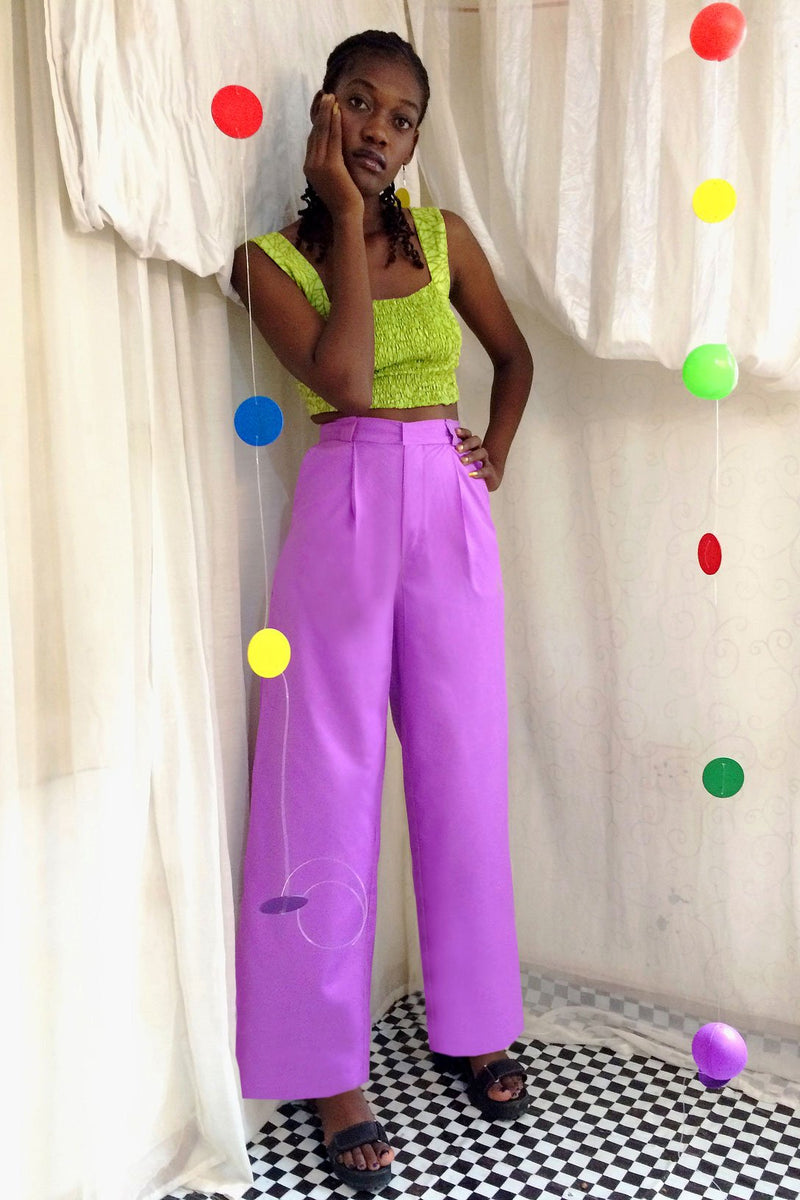 Asime Lilac Wide Leg Trousers