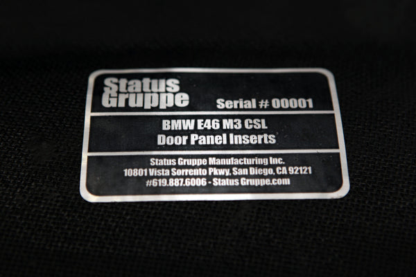 SGT-CSL Panel inside sticker. Each panel set is serial numbered.