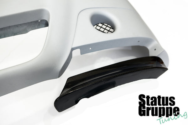 "BMW E46 M3 ""CSL Style"" Front Bumper. Close up of the front Splitter system"