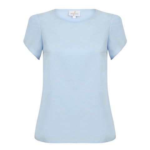 Light Blue Poplin Top with Toulip Short Sleeves