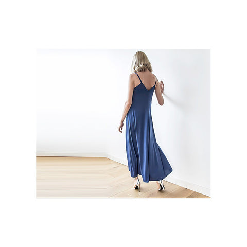 Blue Maxi dress with thin straps
