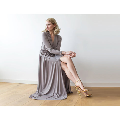 Taupe long sleeve maxi wrap dress with high slit - Stylemindchic Boutique - Curated Collections - 1