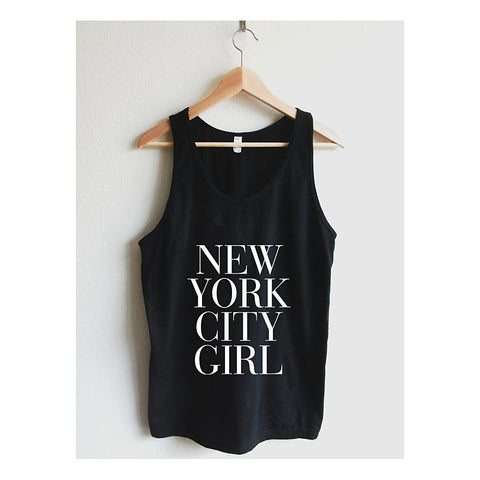 """New York City Girl""  Vogue Typography Unisex Tank Top - AvaWilde"