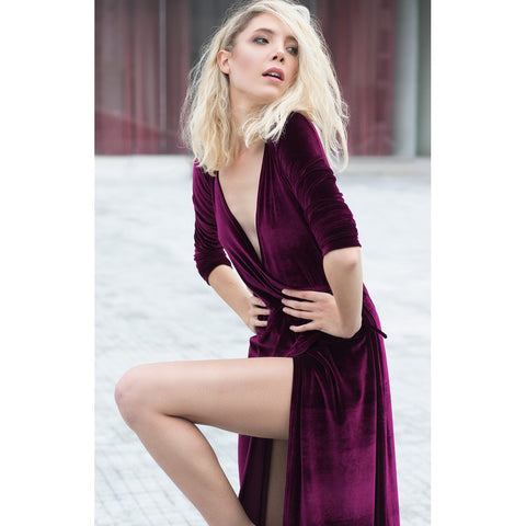 Velvet shirt dress - Stylemindchic Boutique - Curated Collections - 1