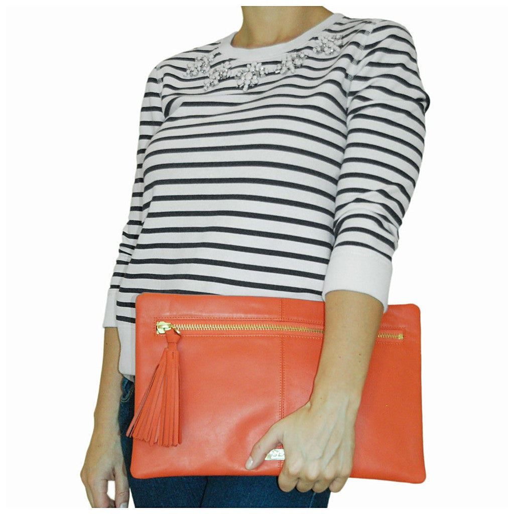 """Stella"" Clutch - Orange Leather designed by Holly Scott - San Francisco"