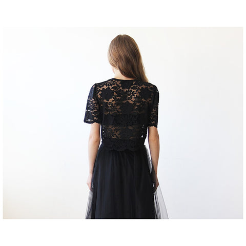 Black Lace short sleeves top - Stylemindchic Boutique - Curated Collections - 2