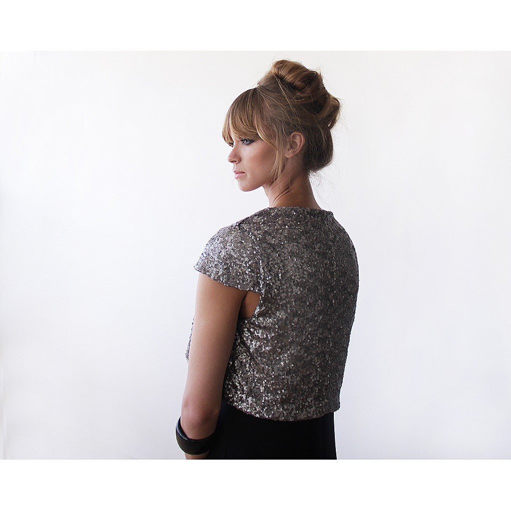 Glamorous sparkling silver sequin bolero - Stylemindchic Boutique - Curated Collections - 3