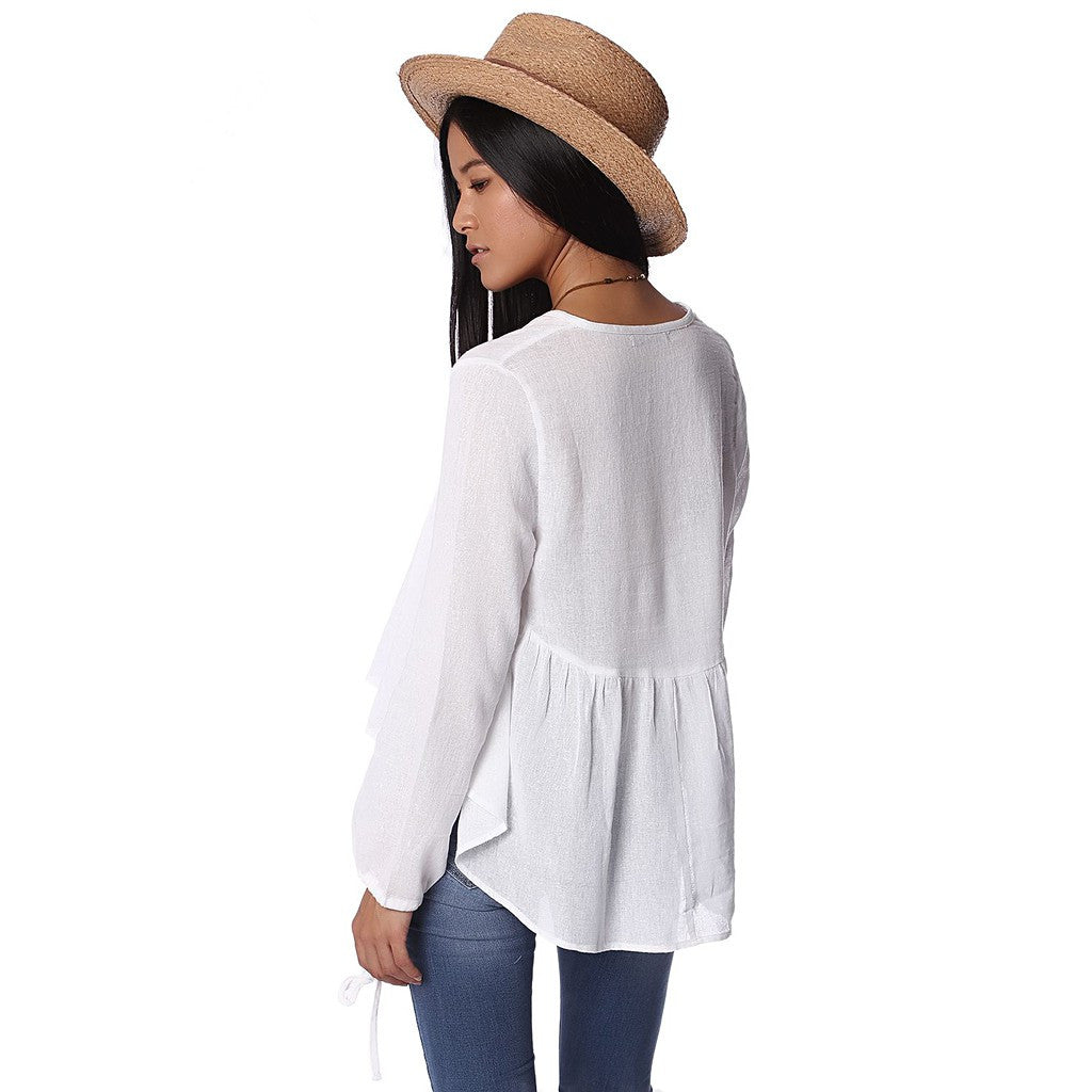 White linen bluse with pleat tuck detail