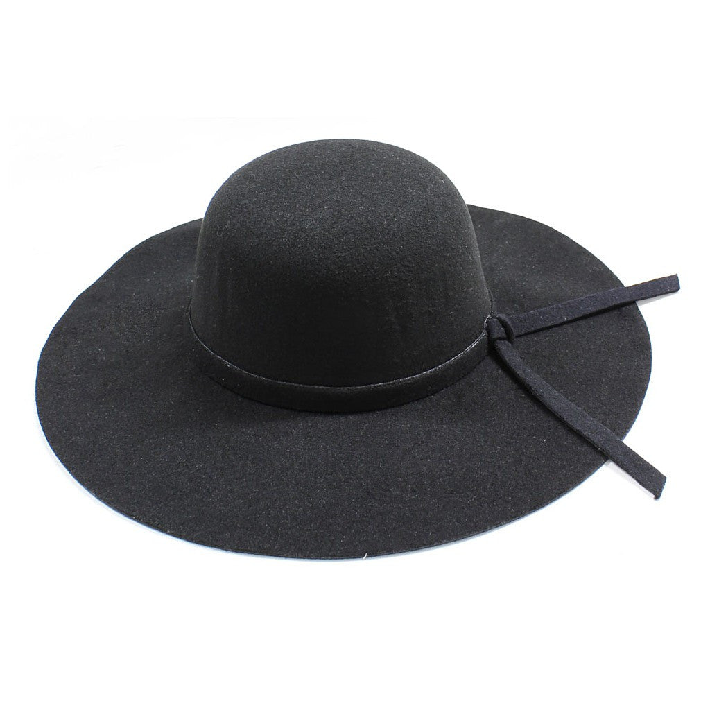 Womens Wide Brim Floppy Felt Hat with Matching Tie