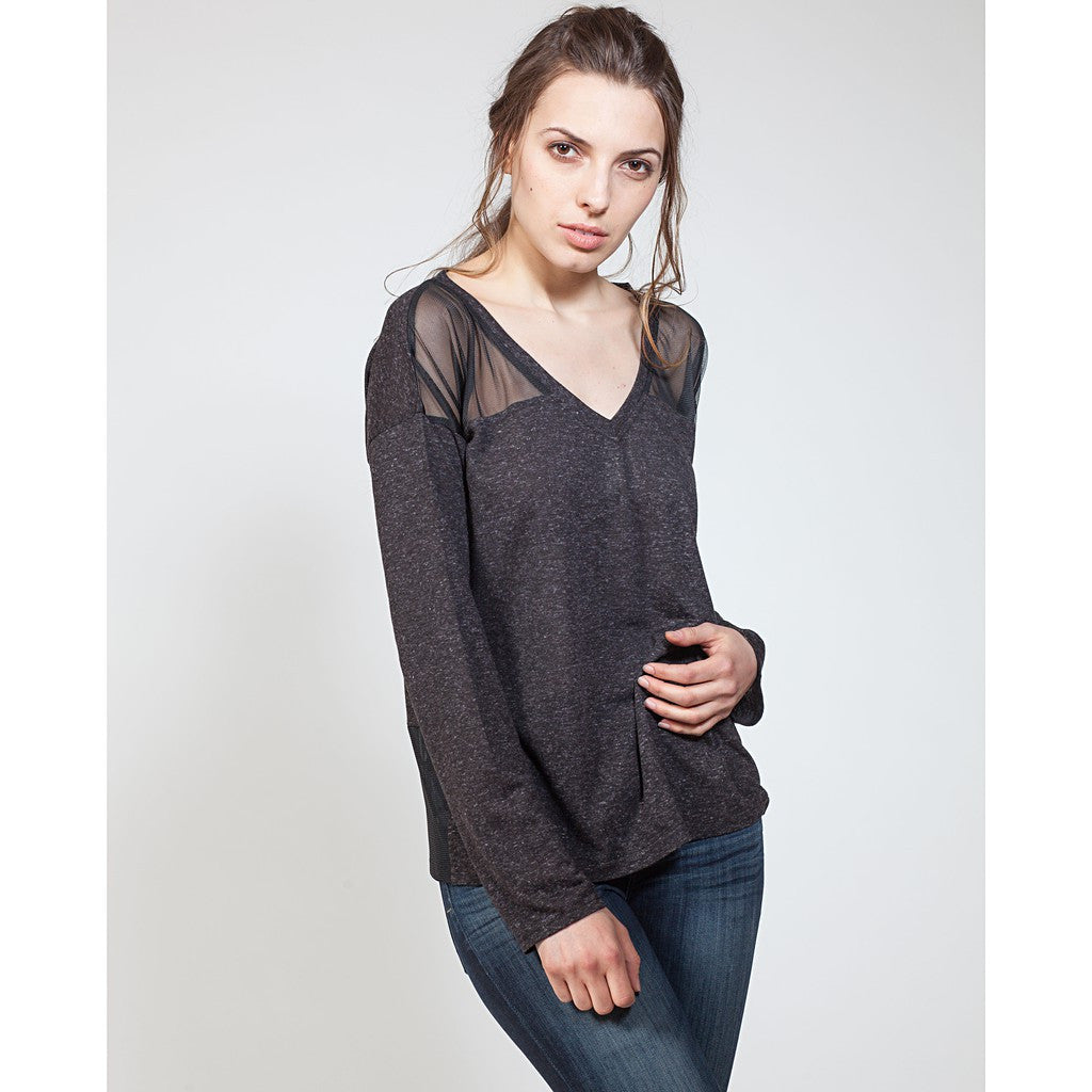 Mesh Yoke Sweatshirt - Stylemindchic Boutique - Curated Collections  - 1