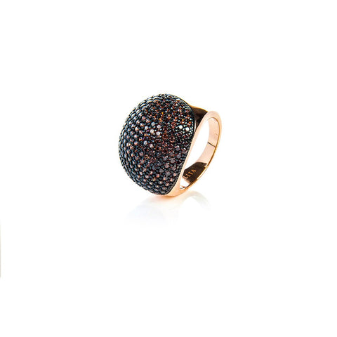 22ct Rose Gold Vermeil Micro pave Ball Ring - Chocolate Zircon - Stylemindchic Boutique - Curated Collections - 1