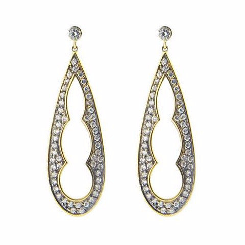 Silver Gold & Black Rhodium Plated  1.5 Inch Long Pear Shape Earrings Cz Edges - Stylemindchic Boutique - Curated Collections
