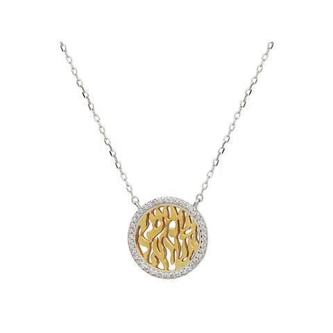 "Silver Gold Plated &  Rhodium Cz Mini shema Necklace 15.5""+ 2"""