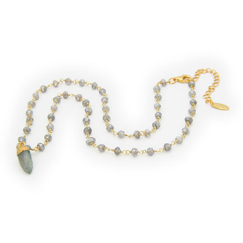 "18k Gold Plated Sterling Silver Labradorite Bullet Charm Necklace, 16.5"" - Stylemindchic Boutique - Curated Collections"