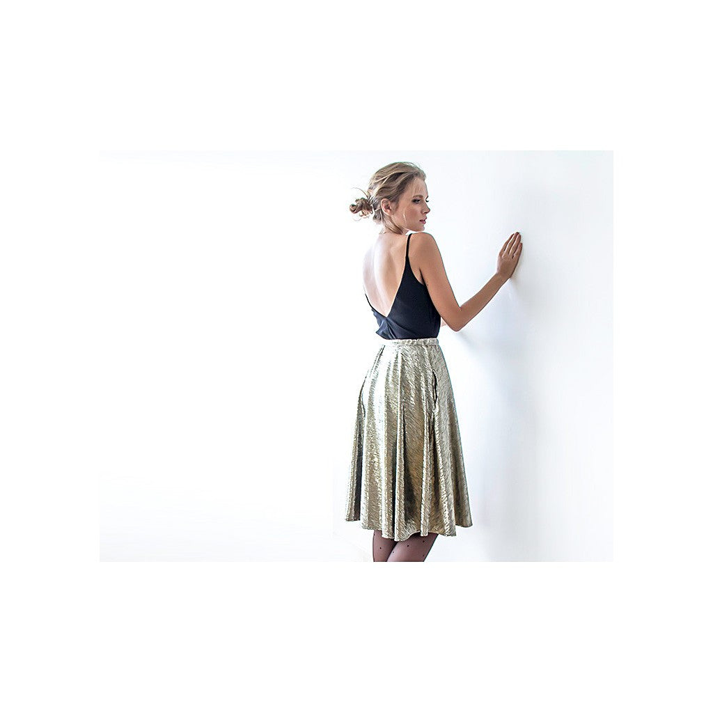Metallic gold midi skirt with pockets - Stylemindchic Boutique - Curated Collections - 1