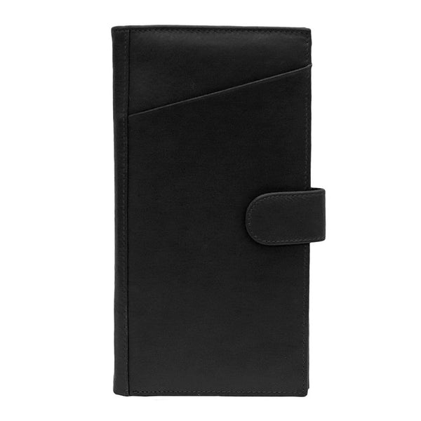 'Noir' Genuine Leather Travel Wallet - Black