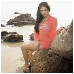 Beach Glam Coral and Gold Silk Kaftan