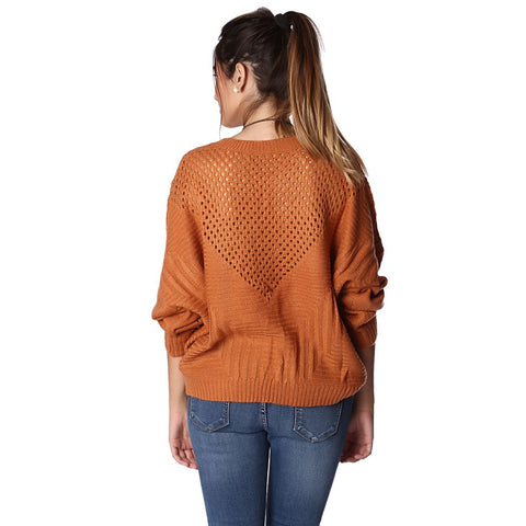 ORANGE SWEATER WITH SHEER OPEN KNIT DETAIL - Stylemindchic Boutique - Curated Collections - 2