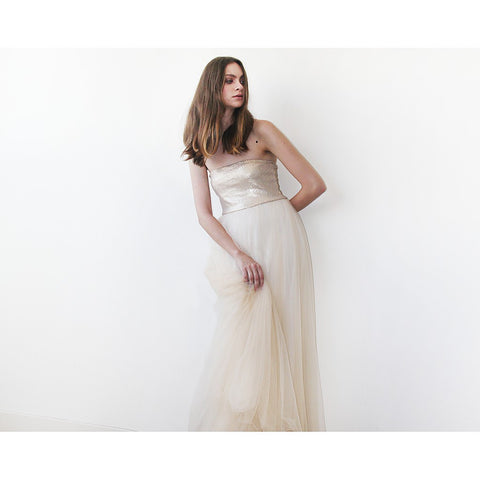 'Renee' Gold champagne strapless sequined tulle gown
