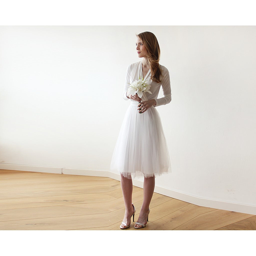 Ivory midi tulle dress with long sleeves - Stylemindchic Boutique - Curated Collections - 4