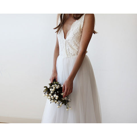 Ivory tulle and lace wedding gown - Stylemindchic Boutique - Curated Collections - 1