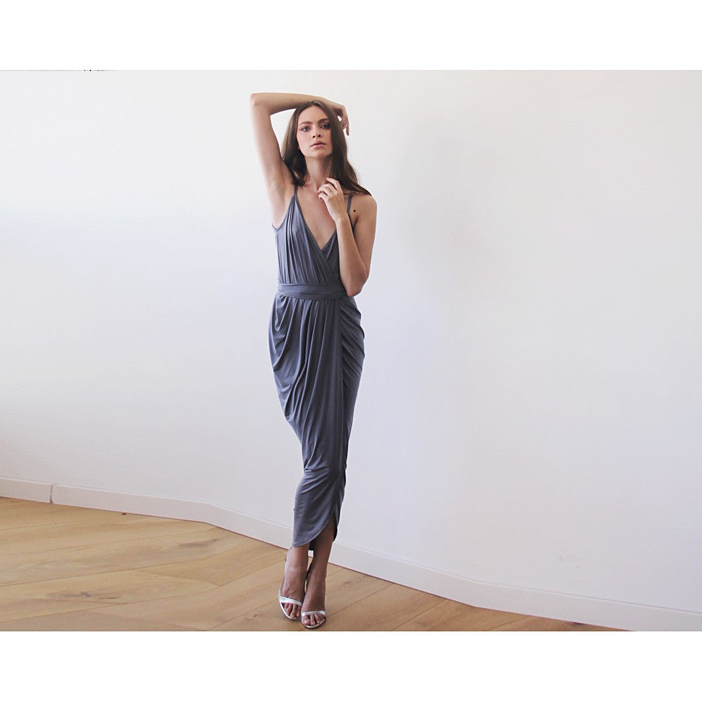 Grey Wrap maxi dress - Stylemindchic Boutique - Curated Collections - 4