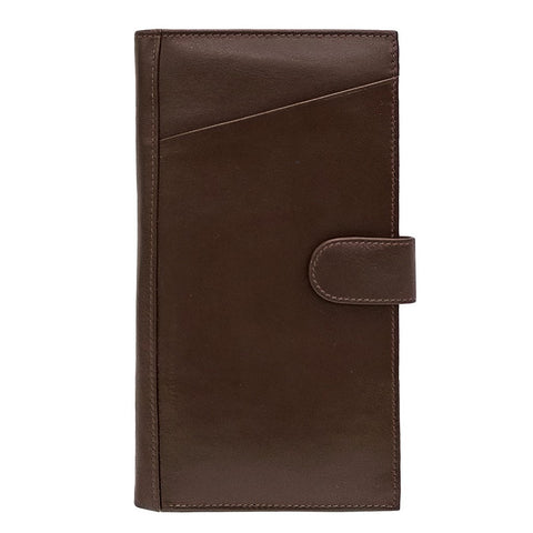 """Dark Chocolate"" Leather Travel Wallet - Brown"