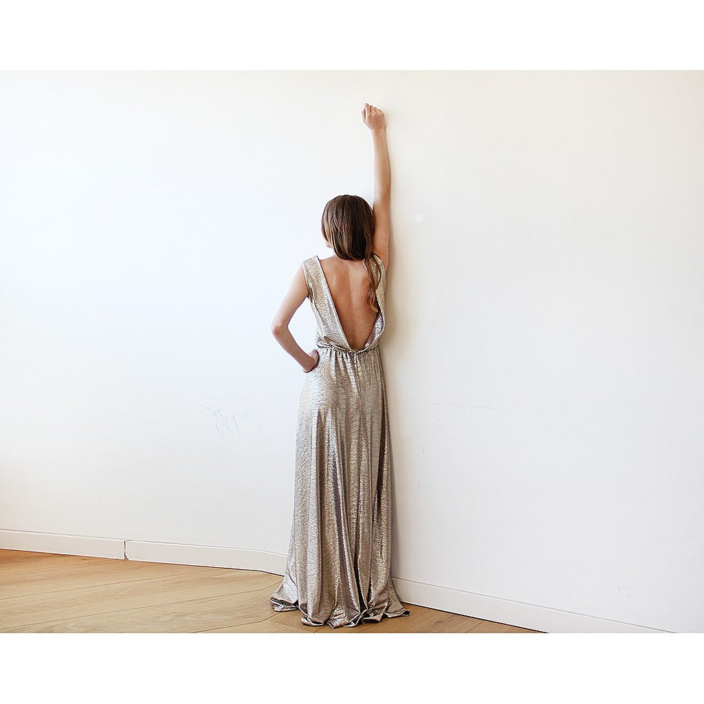 Gold Backless maxi dress sleeveless - Stylemindchic Boutique - Curated Collections - 4
