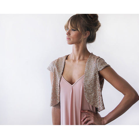 Glamorous sparkling pink sequin bolero - Stylemindchic Boutique - Curated Collections - 1