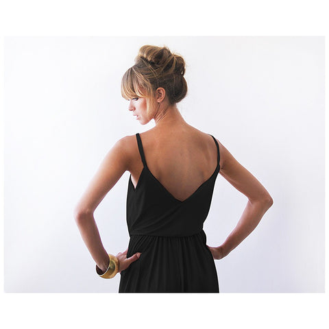 Black sexy maxi wrap dress - Stylemindchic Boutique - Curated Collections - 2