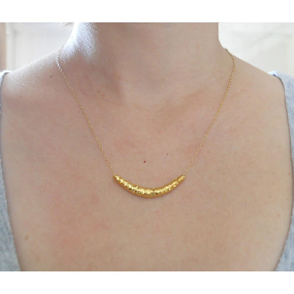 Vermeil Hammered Bar Necklace
