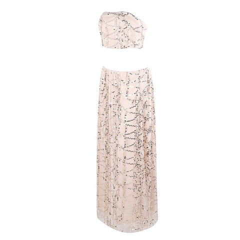 Beige Sequin Dress by Evelyn Belluci