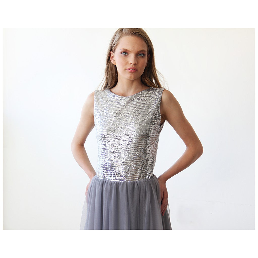 Backless Silver and grey sequins sleeveless maxi tulle Dress - Stylemindchic Boutique - Curated Collections - 4