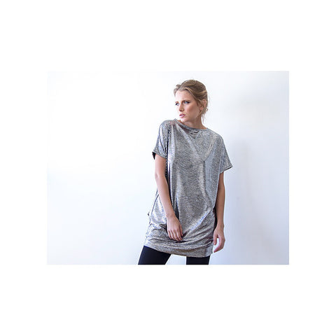 Metallic silver tunic with pockets - Stylemindchic Boutique - Curated Collections - 2