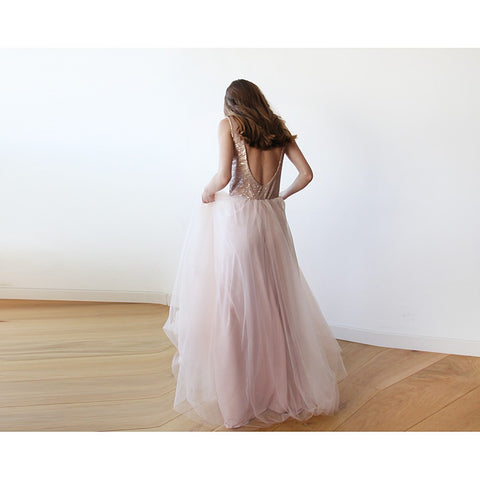 Backless pink sequins sleeveless maxi tulle Dress - Stylemindchic Boutique - Curated Collections - 2