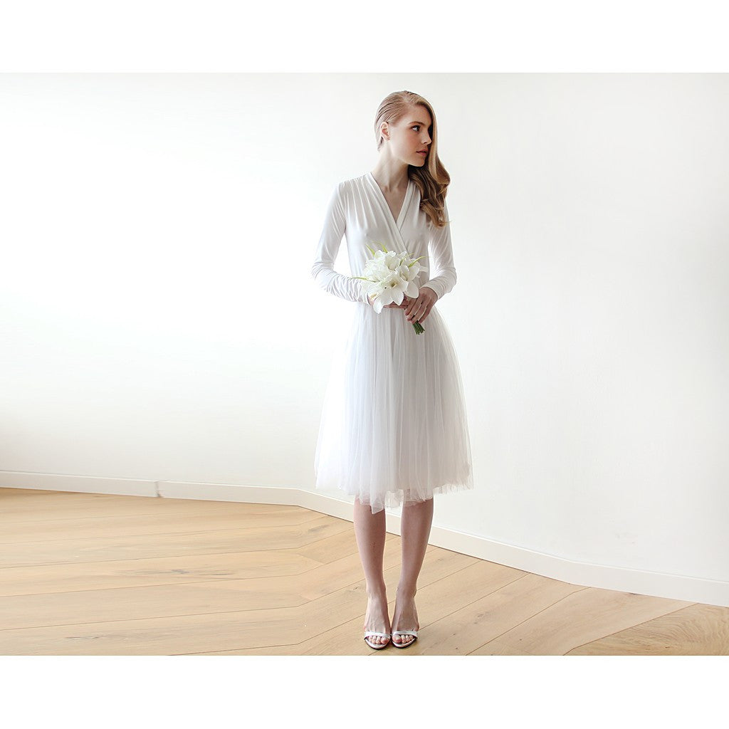 Ivory midi tulle dress with long sleeves - Stylemindchic Boutique - Curated Collections - 2