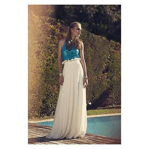 Modal White overprinted High Waist Long Skirt - Stylemindchic Boutique - Curated Collections - 1